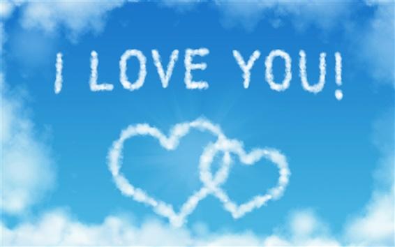 Papéis de Parede Eu te amo, nuvens em forma de coração no céu azul