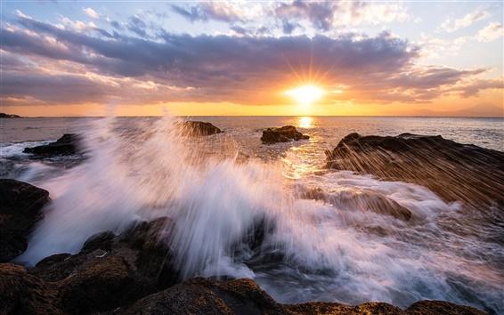 Papéis de Parede Japão, Kanagawa, baía, praia, pedras, sol, sol, céu, nuvens