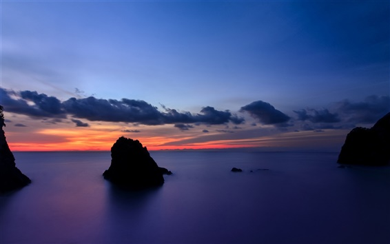 Wallpaper Japan, Shizuoka Prefecture, rocks island, sea, evening sunset, blue sky and clouds
