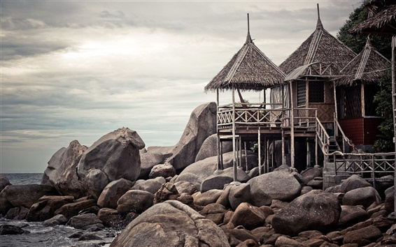 Papéis de Parede Ko Tao, cabana de madeira, Tailândia