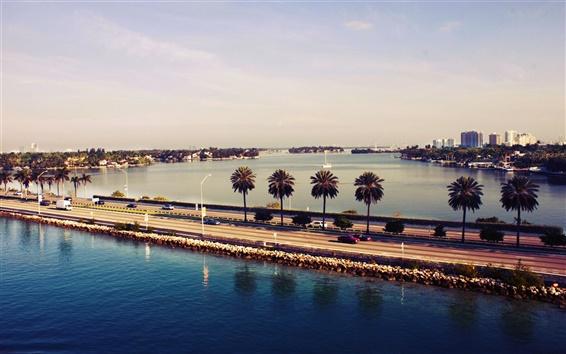Wallpaper Miami, Florida, USA, sunset, water, road, city