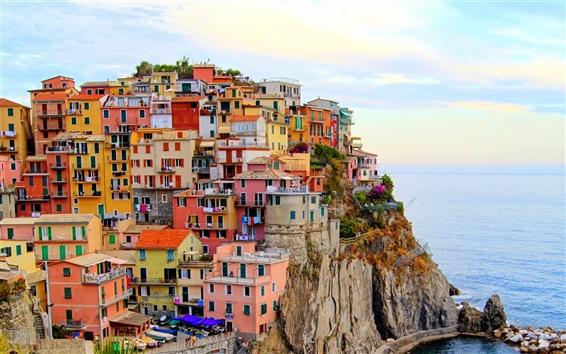 Wallpaper Monterosso, Italy city, houses, sea, stones, cliff