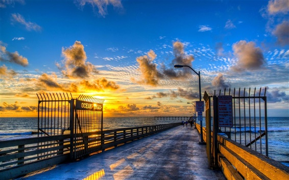 Fond d'écran Ocean Beach quai beau coucher de soleil