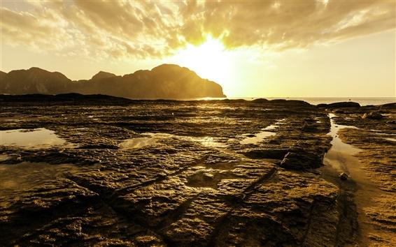 Обои Пхи-Пхи Закат, Андаманское море, Таиланд