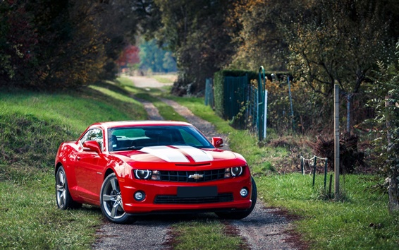 Wallpaper Red Chevrolet Camaro muscle car