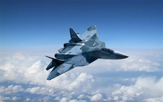 Fondos de pantalla Combate multiusos de la quinta generación de Rusia en el cielo