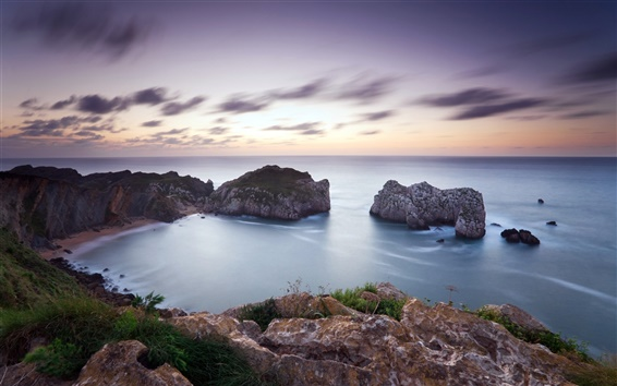 Fondos de pantalla Paisaje marino, mar, costa, rocas, cielo lila