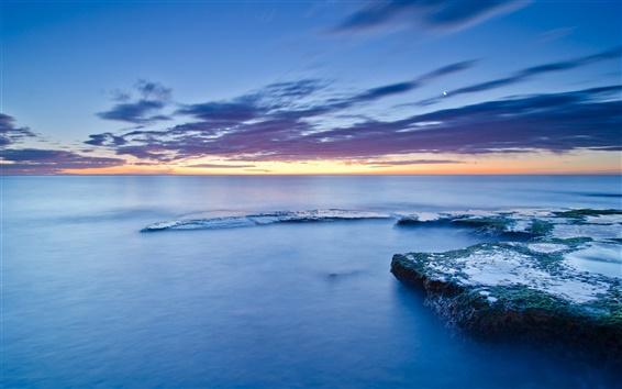 Papéis de Parede Espanha, Valencia, pedras, musgo, mar, costa, noite calma, pôr do sol, céu azul