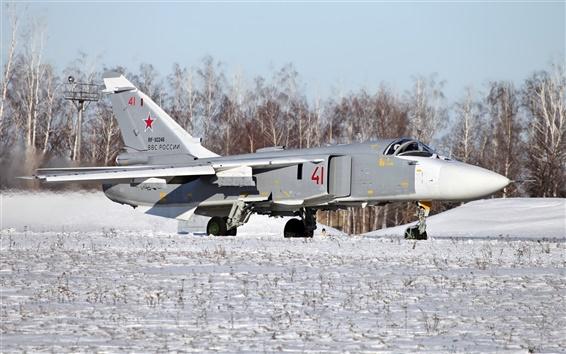 Обои Бомбардировщик Су-24 взлет
