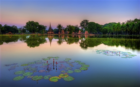 Wallpaper Sukhothai Historical Park, Thailand, lake, water lilies