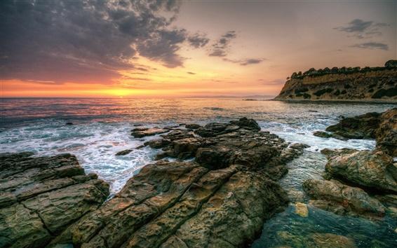Wallpaper Sunset sea beautiful landscape, rocks, waves