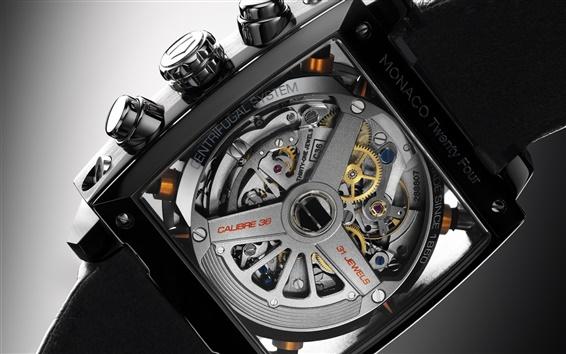 壁紙 タグ·ホイヤー、モナコ24フォー、時計の腕時計、マクロクローズアップ