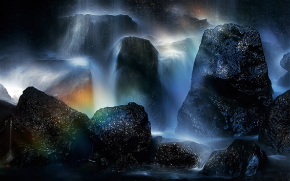 Fond d'écran Tatsuzawa Falls, Japon, arc-en-ciel