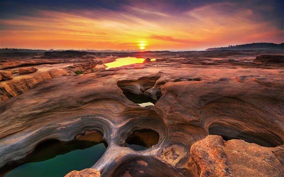 Wallpaper Thailand, Ubon Ratchathani sunset