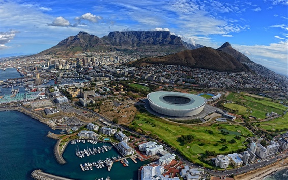 Wallpaper Top view of the city, South Africa, Cape Town, Atlantic Ocean