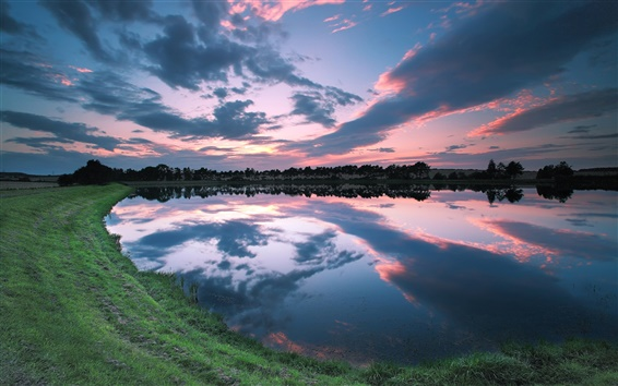 Fondos de pantalla Reino Unido, Inglaterra, lago orilla paisaje hermoso, crepúsculo, cielo, nubes