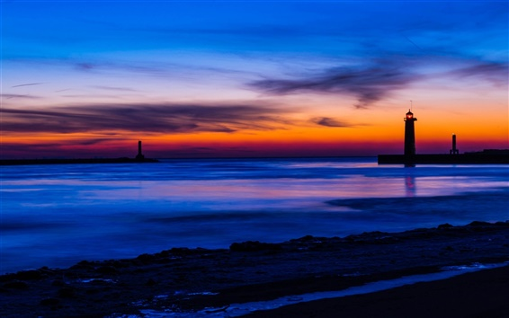 Wallpaper USA, Michigan, sea, beach, lighthouse, night, blue and orange sky, sunset, clouds