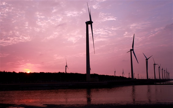 Wallpaper Windmills, pink sky, sunset