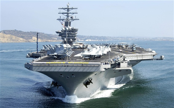 Wallpaper Aircraft carrier, fighters, helicopters, sea