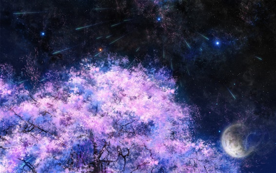 Wallpaper Art painting, cherry trees, space, meteor shower