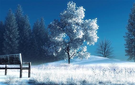Wallpaper Art photography, winter, snow, trees, bench