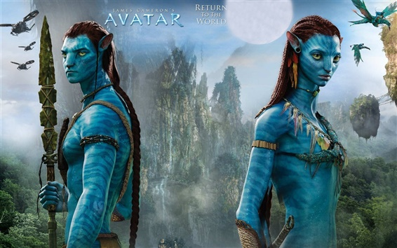 Wallpaper Avatar, blue skin, James Cameron's movie