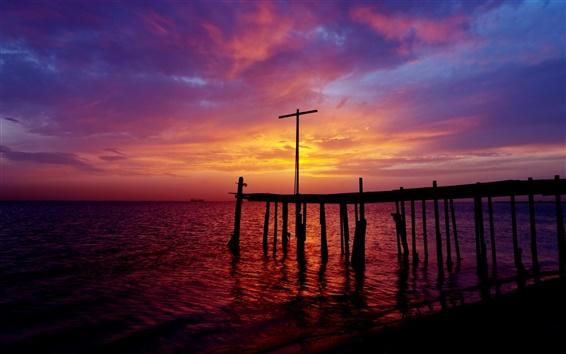 Обои Бахрейн, Персидский залив, море, пирс, закат, фиолетового неба