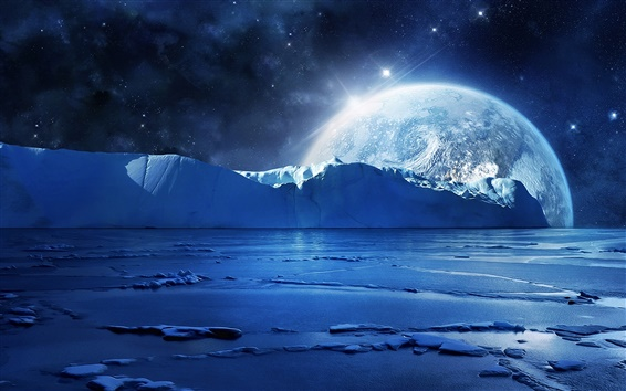 Wallpaper Blue sea ice water, cold night, planets and stars