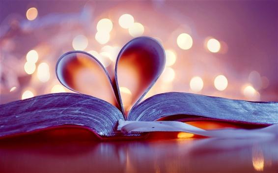 Обои Книга, закладки, любовь сердца, размытым фоном