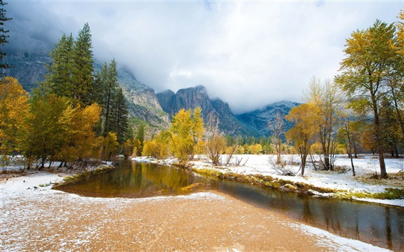 Wallpaper Early winter nature landscape, trees, snow, river, mountains