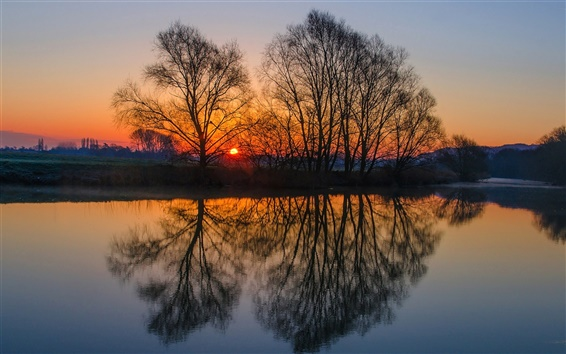 Wallpaper England landscape, evening sunset, trees, river, water surface reflection