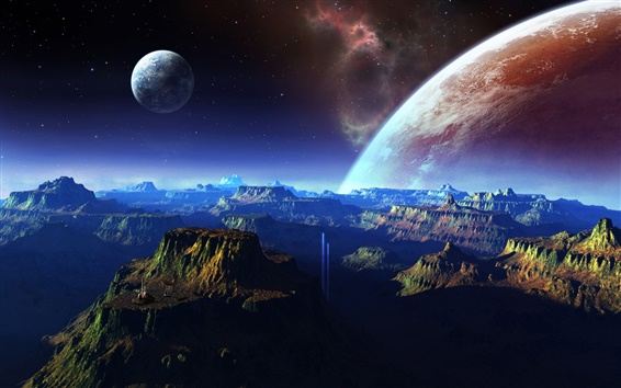 Wallpaper Fantastic scenery, mountains, space, planet