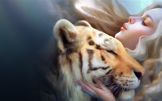 Fondos de pantalla Muchacha de la fantasía con el tigre