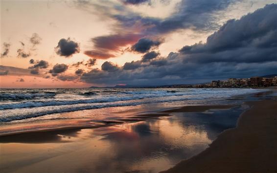 Fond d'écran Grèce, Crète, ville, plage, mer, soirée, coucher de soleil, ciel, nuages