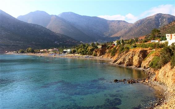 Fondos de pantalla Grecia playa del mar, casas, montañas