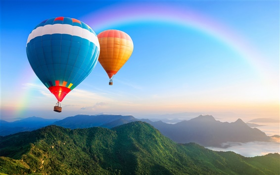 Wallpaper Hot air balloon, rainbow, hills