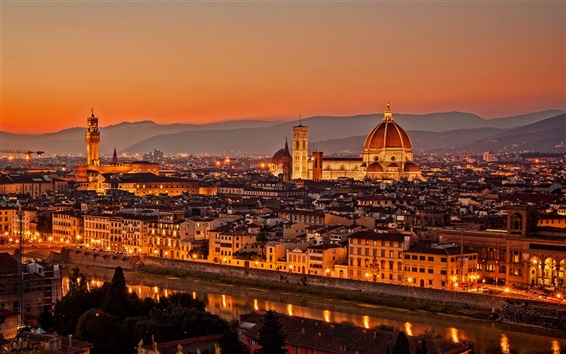 Wallpaper Italy, Firenze, city at evening sunset
