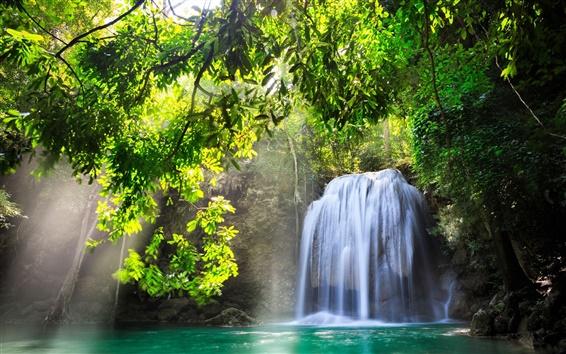 Papéis de Parede Kanchanaburi, na Tailândia, cachoeira, natureza, sol, água, árvores