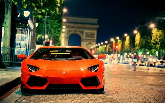 Hintergrundbilder Lamborghini Aventador LP700-4 in der Stadt Straße in der Nacht