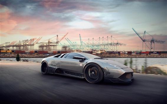 Fond d'écran Lamborghini Murcielago LP670-4 SV gris supercar