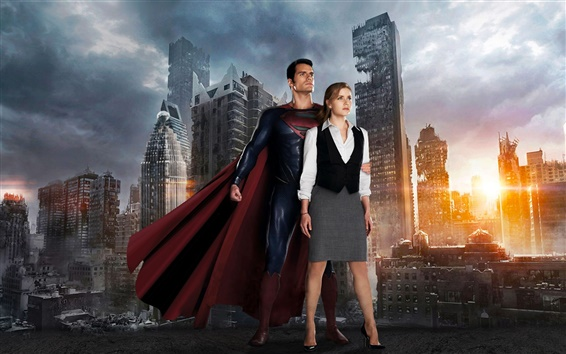 Wallpaper Man of Steel, Superman with his girlfriend