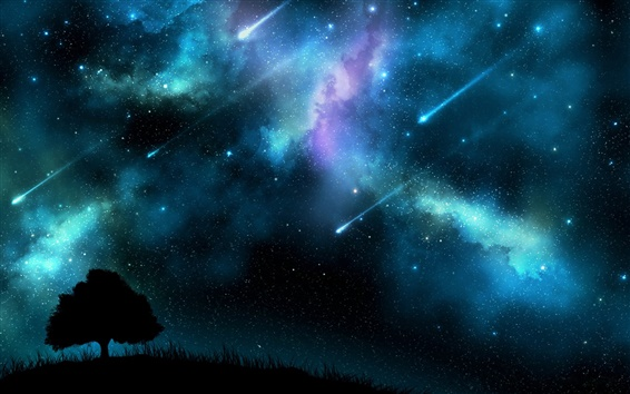 Wallpaper Meteor shower at night, blue sky, trees silhouette