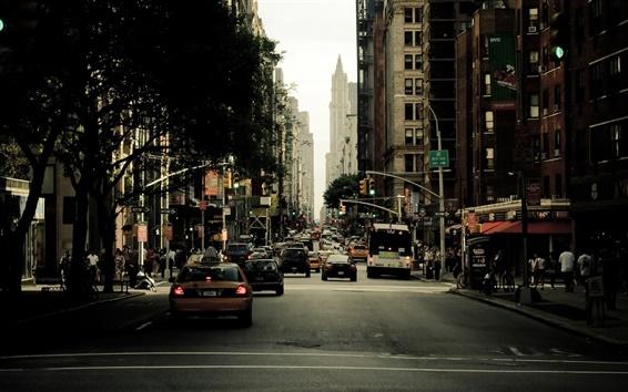 Papéis de Parede New York, rua da cidade, arranha-céus, carros, pessoas