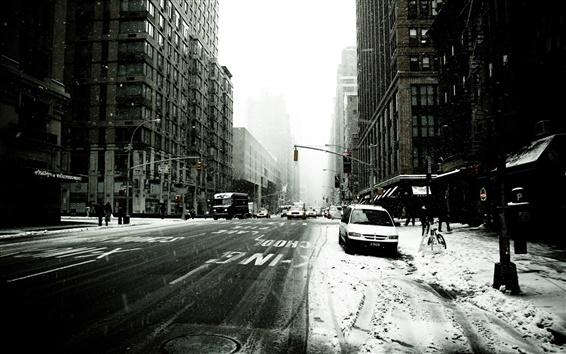 Обои Нью-Йорк улице зимой