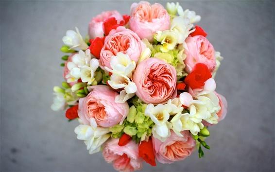 Wallpaper Peony, freesia, hydrangea, flowers bouquet