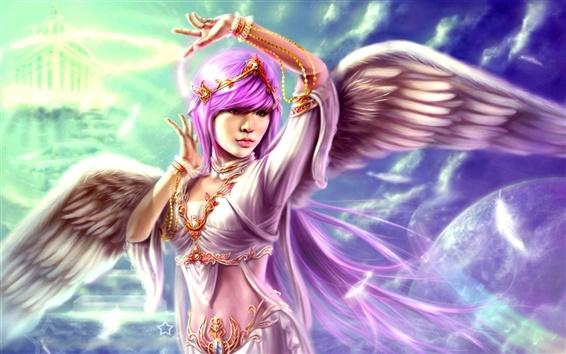Wallpaper Purple hair fantasy angel girl, wings feather