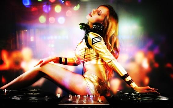 Papéis de Parede Garota sexy DJ, console, pista de dança, luzes coloridas