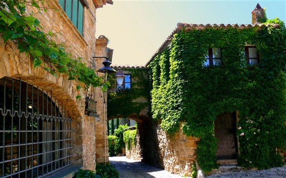 Papéis de Parede Espanha, Catalunha, cidade verde, estrada, casas, sol