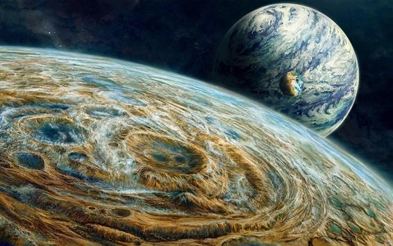 Fond d'écran Trois planètes dans l'espace, peinture créative