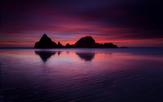 Fond d'écran Unis, Californie, océan, plage, montagne rocheuse, soir, crépuscule, coucher de soleil cramoisi